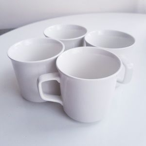 Vintage set of 4 white ceramic coffee or tea cup